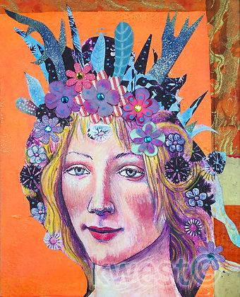 "Bottecelli Solar Goddess Original Painting 10"" x 10"""