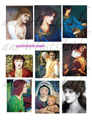 Per-Raphaelite Women 1 Collage Sheet Digital Download