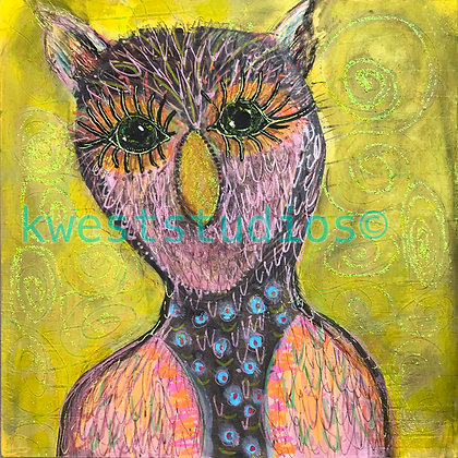 "Owl Original Painting 10"" x 10"""