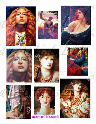 Knights and Ladies White Collage Sheet Digital Download