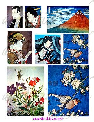Nature Samuri Collage Sheet Digital Download