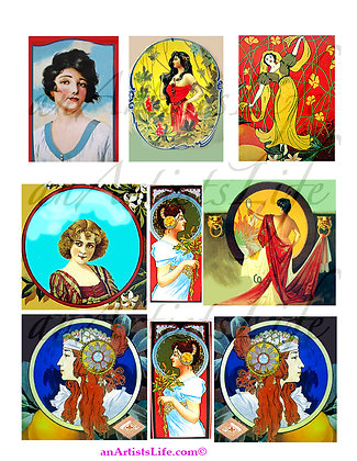 Women Deco Collage Sheet Digital Download