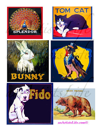 Animals Collage Sheet Digital Download