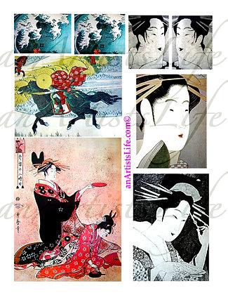 Japanese 3 Collage Sheet Digital Download