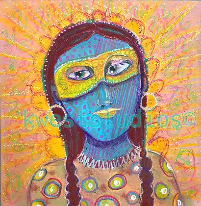 "Blue Goddess Original Painting 10"" x 10"""