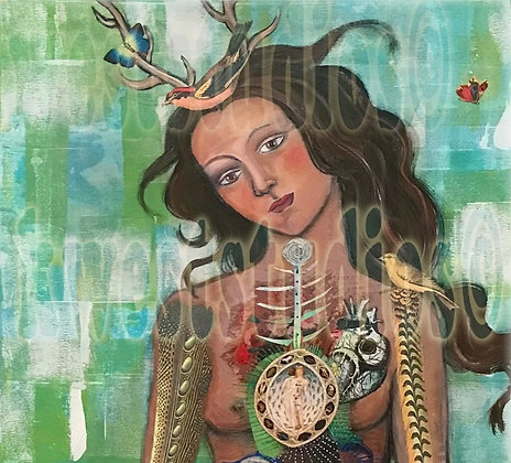 2' X 4' Deer Woman Transformation Original Painting
