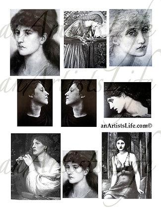 Women Black & White Collage Sheet Digital Download