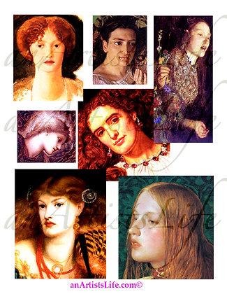Women's Faces Collage Sheet Digital Download