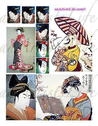 Japanese 2 Collage Sheet Digital Download
