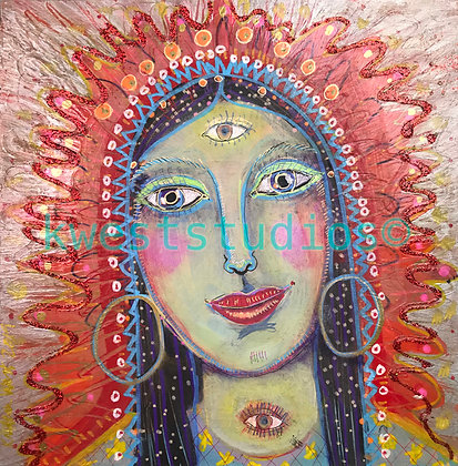 "Red Goddess Original Painting 10"" x 10"""