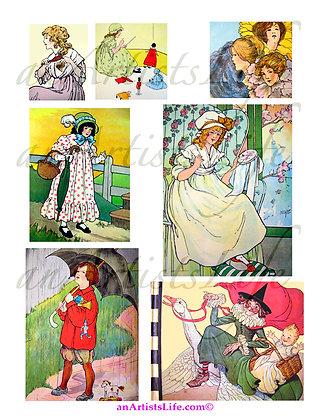 Mother Goose Collage Sheet Digital Download