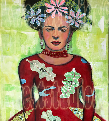 2' X 4' Frida Kahlo as Goddess  Original Painting