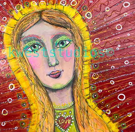 "Gold Goddess Original Painting 10"" x 10"""