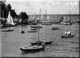 The 1948 14th Annual CNYYRA Regatta attracted hundreds of boats. Revenues from the event paid off the mortgage on the 7 acre field across the highway—space that served as parking for this major event.