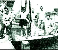 In 1939 this group was ready to pack up their Comets and head to the CNYYRA Regatta in Canandaigua. Left to right, Chester Suppes, Fred Suppes, Helen Quigley, Joe Gilbert, Bill Gilbert, Bill Mulvey and Dan Quigley.