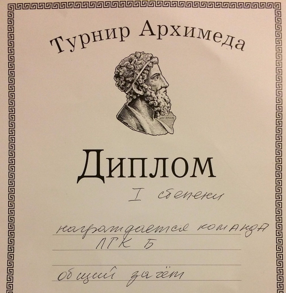 Турнир Архимеда Результаты ЛГК