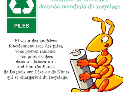 Vendredi 15 novembre : journée mondiale du recyclage
