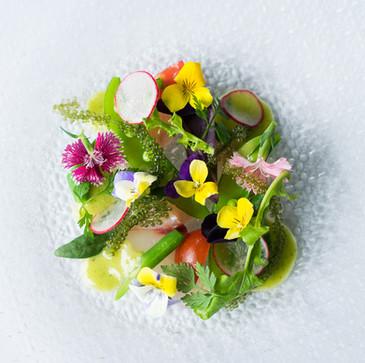 沖縄県産 近海鮮魚のカルパッチョ 海ブドウと旬野菜のオルトラーナ