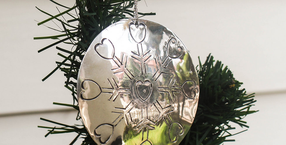 Heart Snowflake Tin Ornament