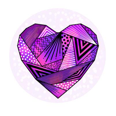 dessin coeur violet origami