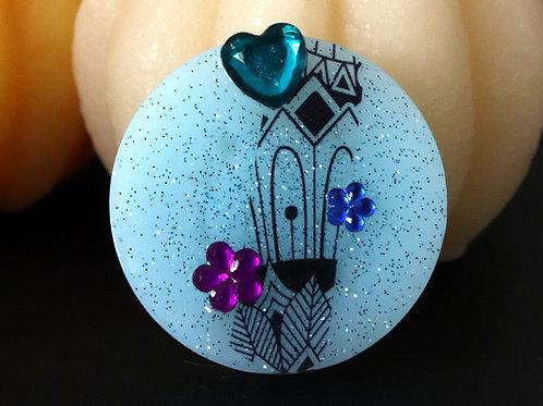 Magnet bleu pailleté coeur bleu