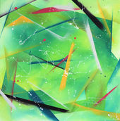 Tableau abstrait carré vert