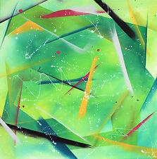 Haumaru, tableau abstrait vert carré
