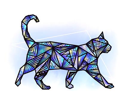 dessin, illustraion chat origami