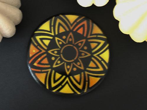 Dessous de verre rosace jaune orange