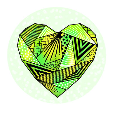 dessin coeur vert origami