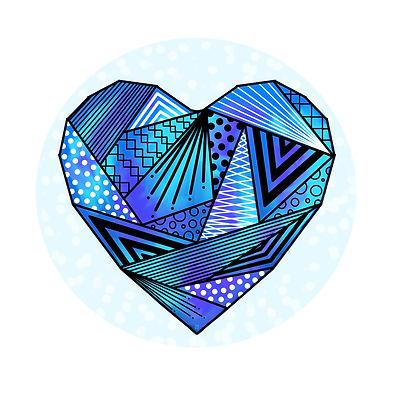 dessin coeur bleu origami