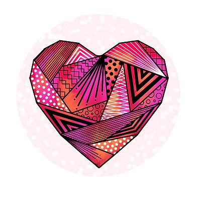 dessin coeur rouge origami