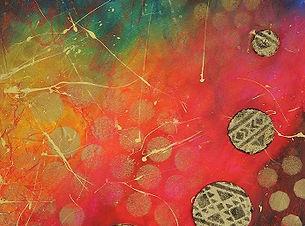 Terre brûlée, tableau abstrait coloré