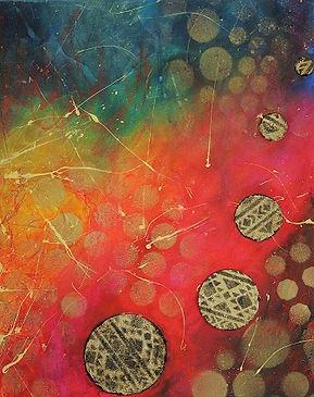 Tableau abstrait acrylique multicolor