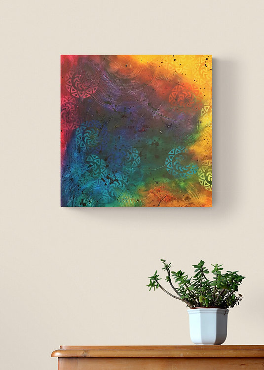 Tableau carré abstrait multicolor