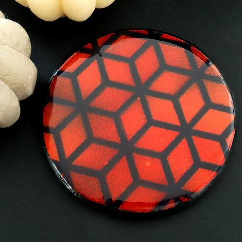 Dessous de verre cubes rouge orange