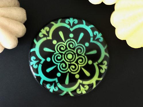 Dessous de verre mandala vert