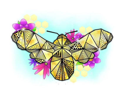Dessin origami abeille et fleurs