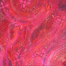 Tableau abstrait carré rouge, orange et rose