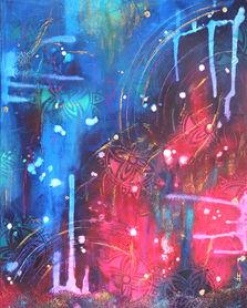 Tableau abstrait rose et bleu