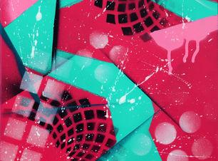 Pop, tableau abstrait rose et vert
