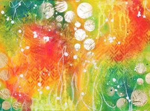 Effervescente rêverie, tableau abstrait couleurs chaudes