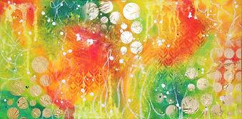 Tableau abstrait acrylique couleurs chaudes