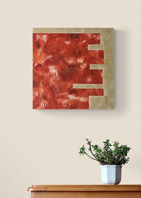 Tableau carré acrylique abstrait ocre