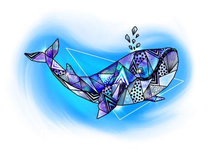 Illustration, dessin, baleine bleue origami