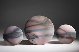 'Pink with Blue Stripes' Wall Discs 2012