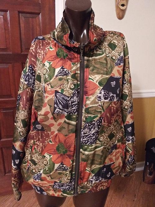 Vintage ethnic print silk bomber jacket (M)