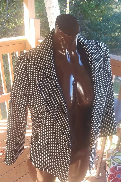 Vintage black & white polkadot blazer (M)