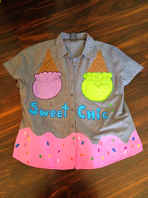 """""""Sweet Chic"""" hand painted top"""