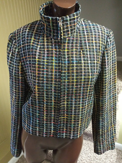 Vintage multi color stitch blazer (M)